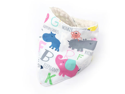 PRE-ORDER Bandana Bib Animals A-Z Grey