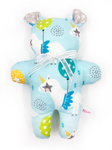 PRE-ORDER Rattle Bear Blue Unicorn Party