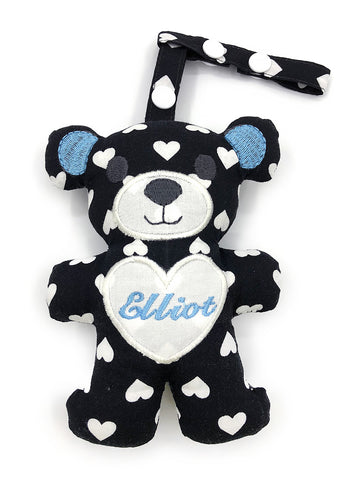 PRE-ORDER Teething Bear B/W Hearts