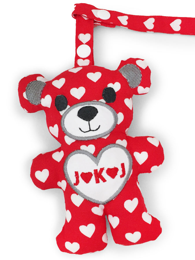 PRE-ORDER Teething Bear Hearts on Red