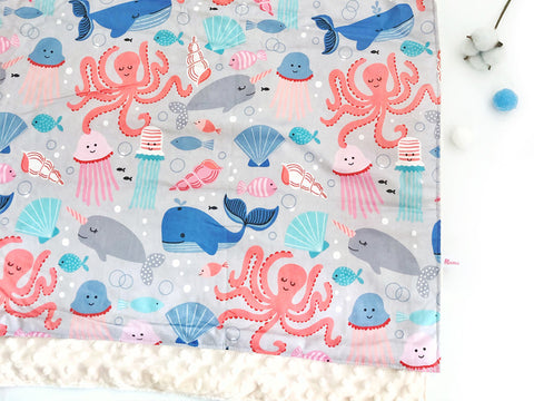 IN-STOCK Minky Blanket Sea Party