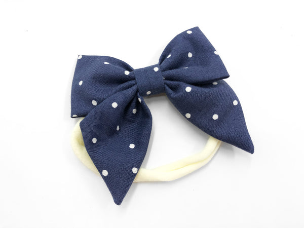 Bow Headband Navy Dots