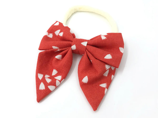 Bow Headband Petals on Red