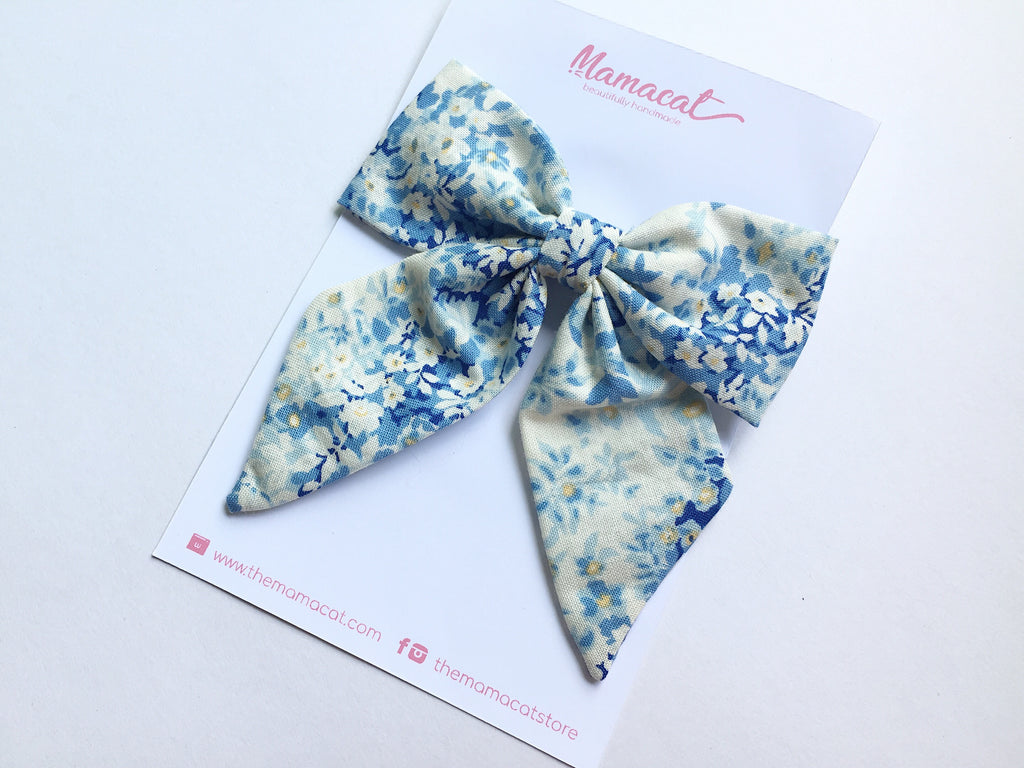 Bow Clip Blue Flowers