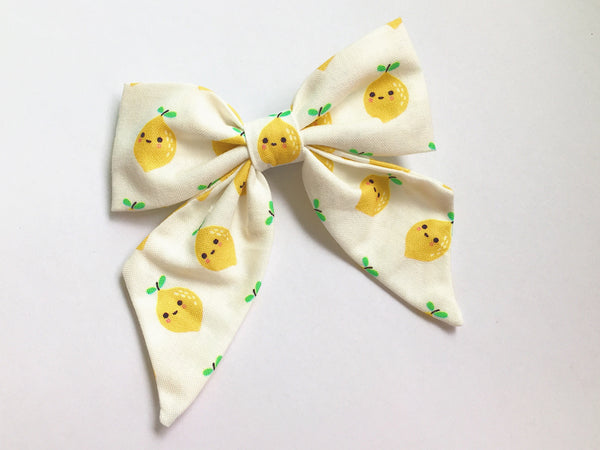 Bow Clip Smiley Lemon