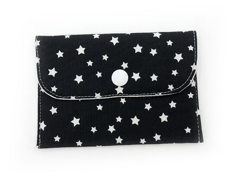 Card Wallet Black White Cute Stars