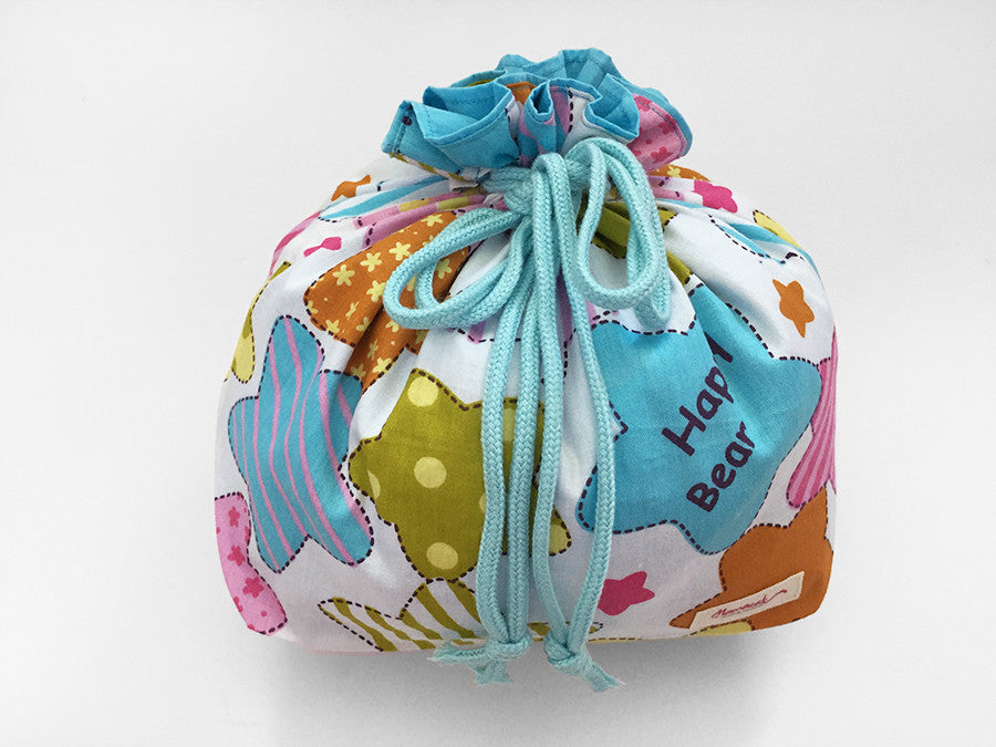 Happy Bear Blue Large Drawstring Pouch