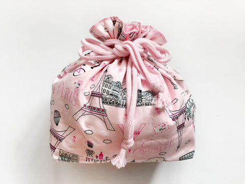 Drawstring Pouch (Large) Paris Love
