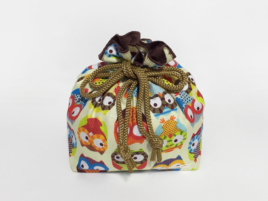 Rainbow Owls Large Drawstring Pouch
