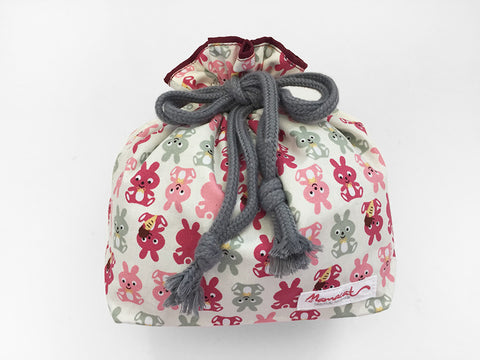 Drawstring Pouch (Medium) Happy Rabbits