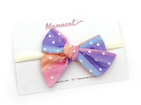 Bow Headband Rainbow Dots Purple