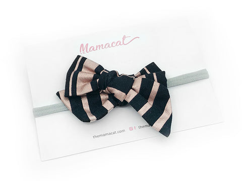 Bow Headband Rose Gold Stripe