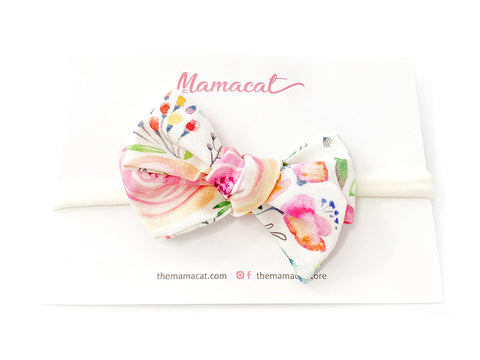 Bow Headband Watercolor Floral Pink