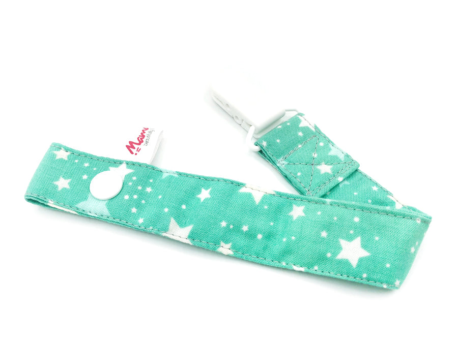 IN-STOCK Pacifier Strap Mint Stars