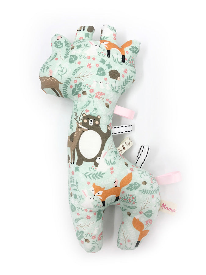 IN-STOCK Rattle Giraffe Mint Floral Forest