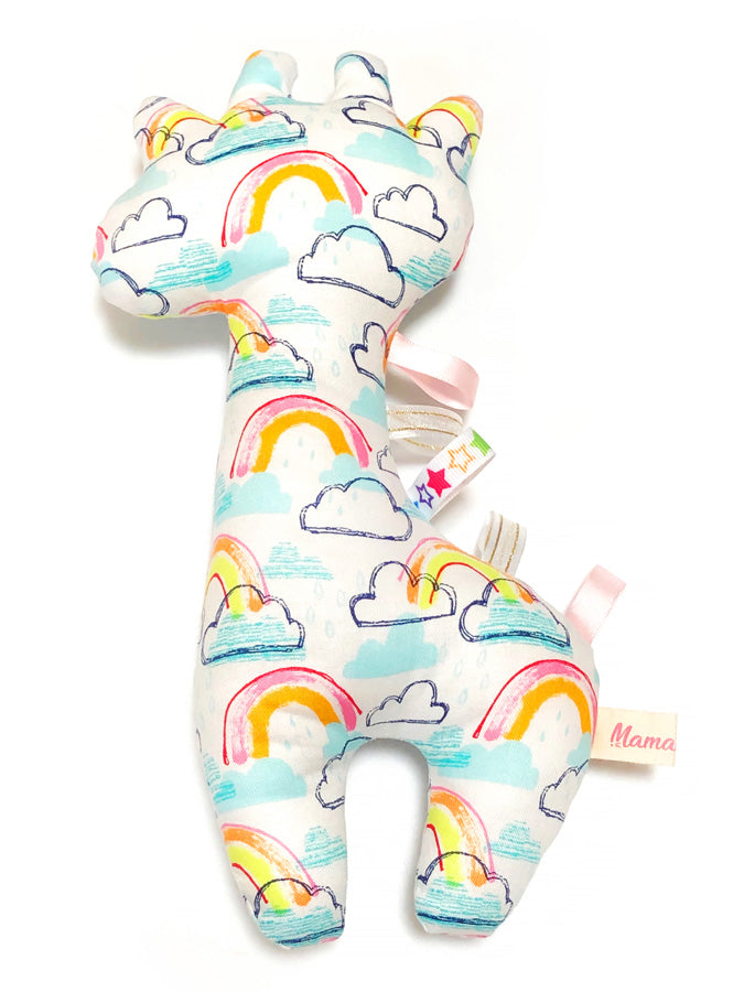 PRE-ORDER Rattle Giraffe Rainbow Bright