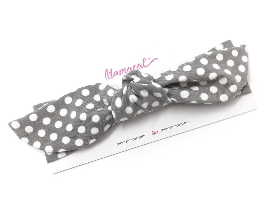 Notty Headband Snow Dots Grey
