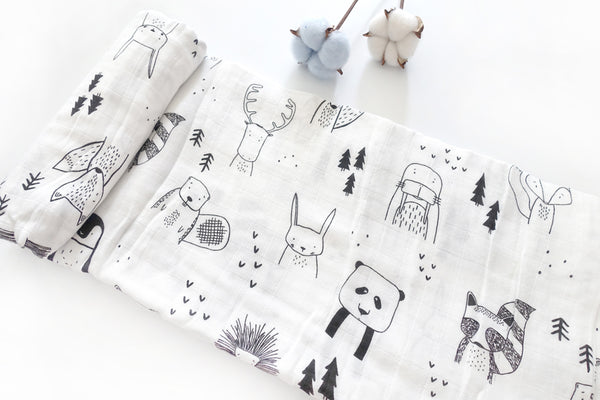Swaddle Black White Animals