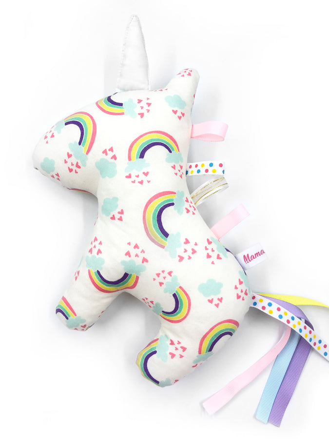 PRE-ORDER Rattle Unicorn Rainbow Cream