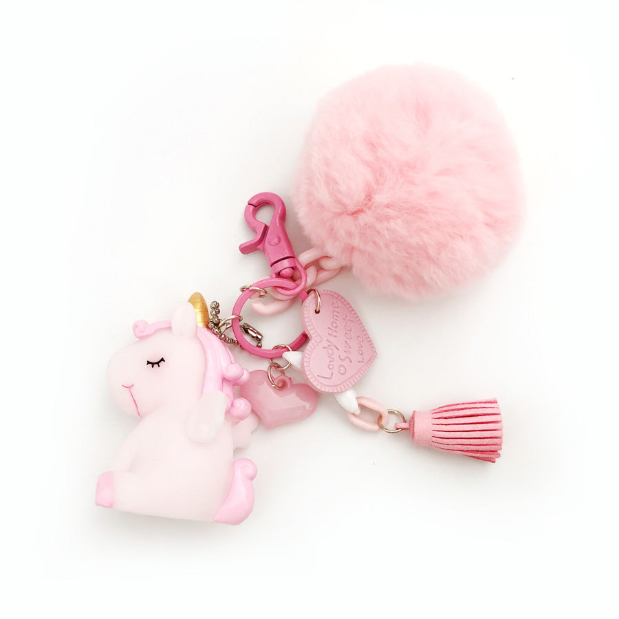 Fluffy Unicorn Charm Pink
