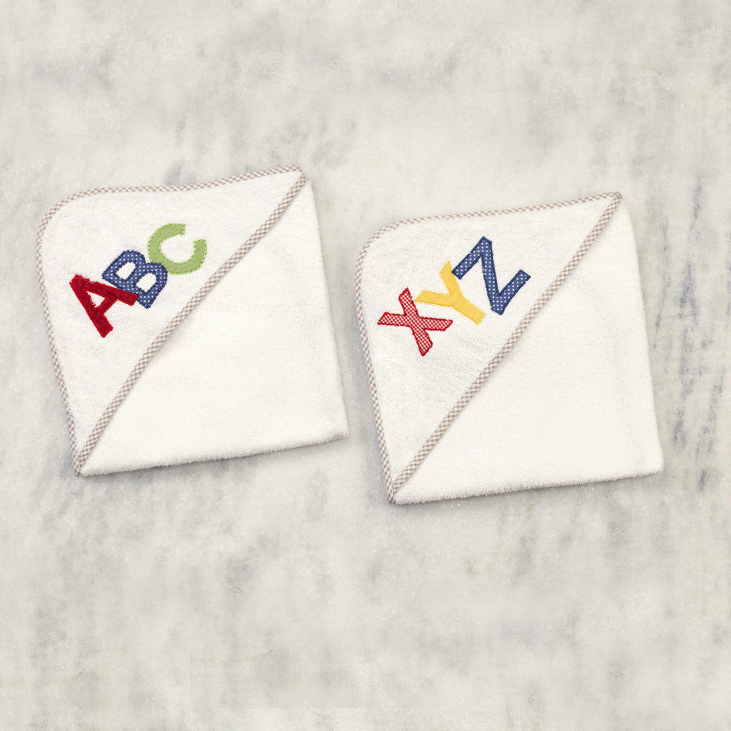"A for Apple Towels <br> Set Of 2 <br> <span style=""font-size: 11px; font-family:Helvetica,Arial,sans-serif;"">Can Be Personalised</span>"