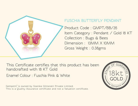 18K Gold Fuschia Butterfly Pendant <br> Bugs & Bees Collection