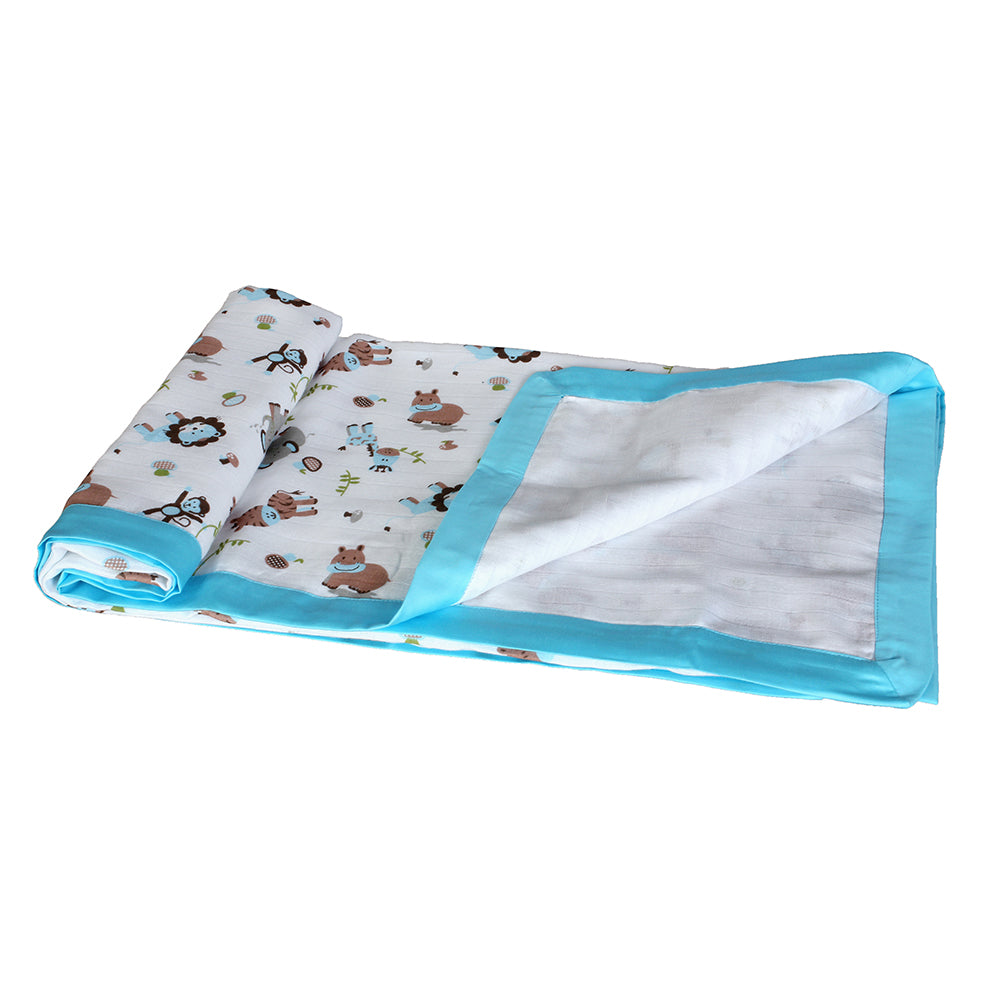 Muslin Blanket 2 Layered - Blue