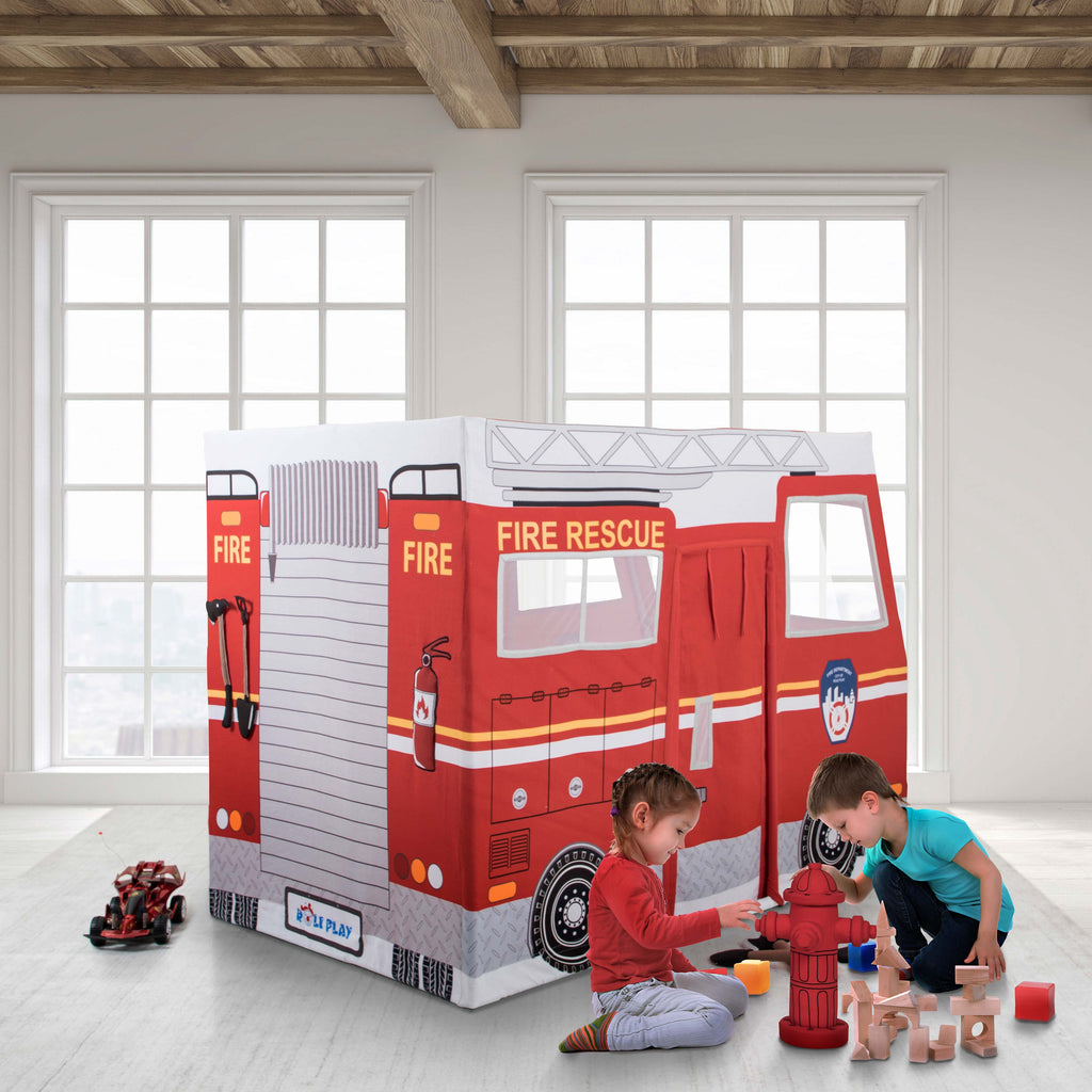 Role Play Deluxe Fire Truck Playhouse Tent
