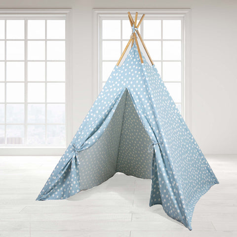 Teepee Tent - Blue Base with White Dots