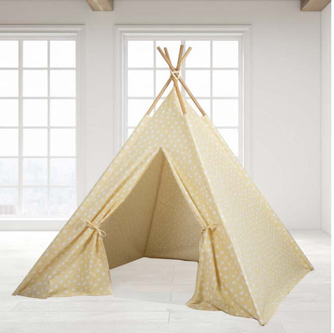 Teepee Tent - Yellow Base with White Dots