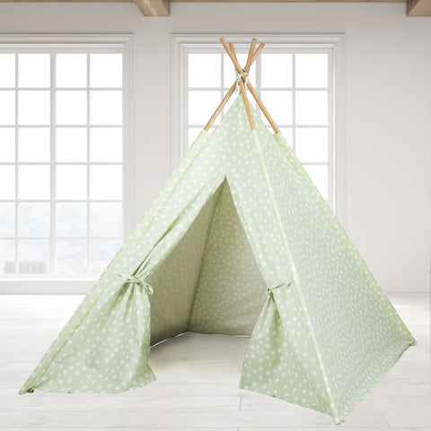Teepee Tent - Green Base with White Dots