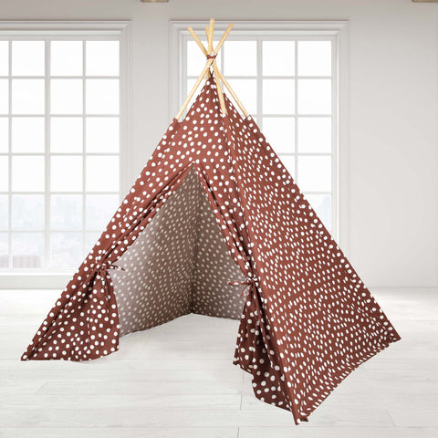 Teepee Tent - Brown Base with White Dots