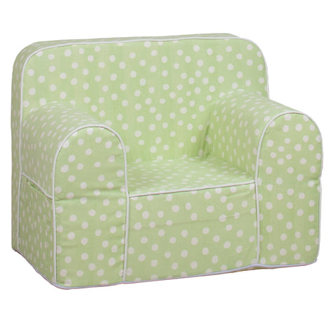 Kids Sofa - Green Base with White Dots