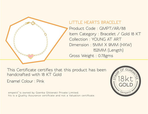 18K Gold Little Hearts Bracelet <br> Young at Art Collection