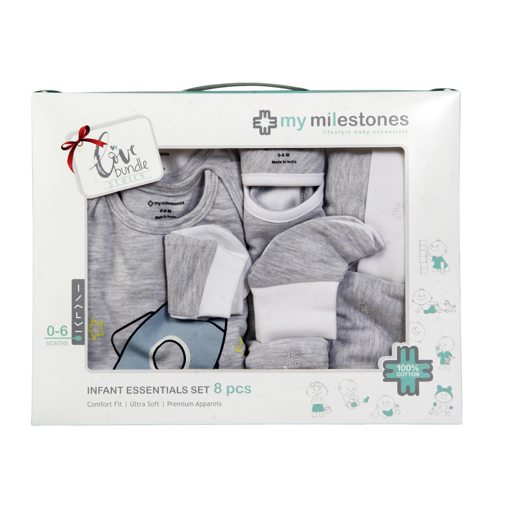 Infant Essentials Gift Set - Grey, Set of 8