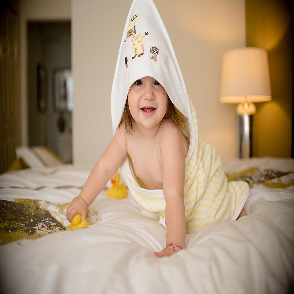 Hooded Towel - Yellow Stripes