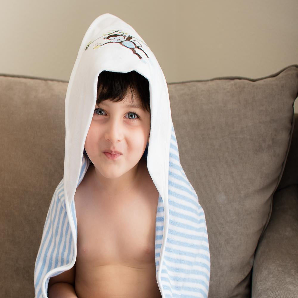 Hooded Towel - Blue Stripes