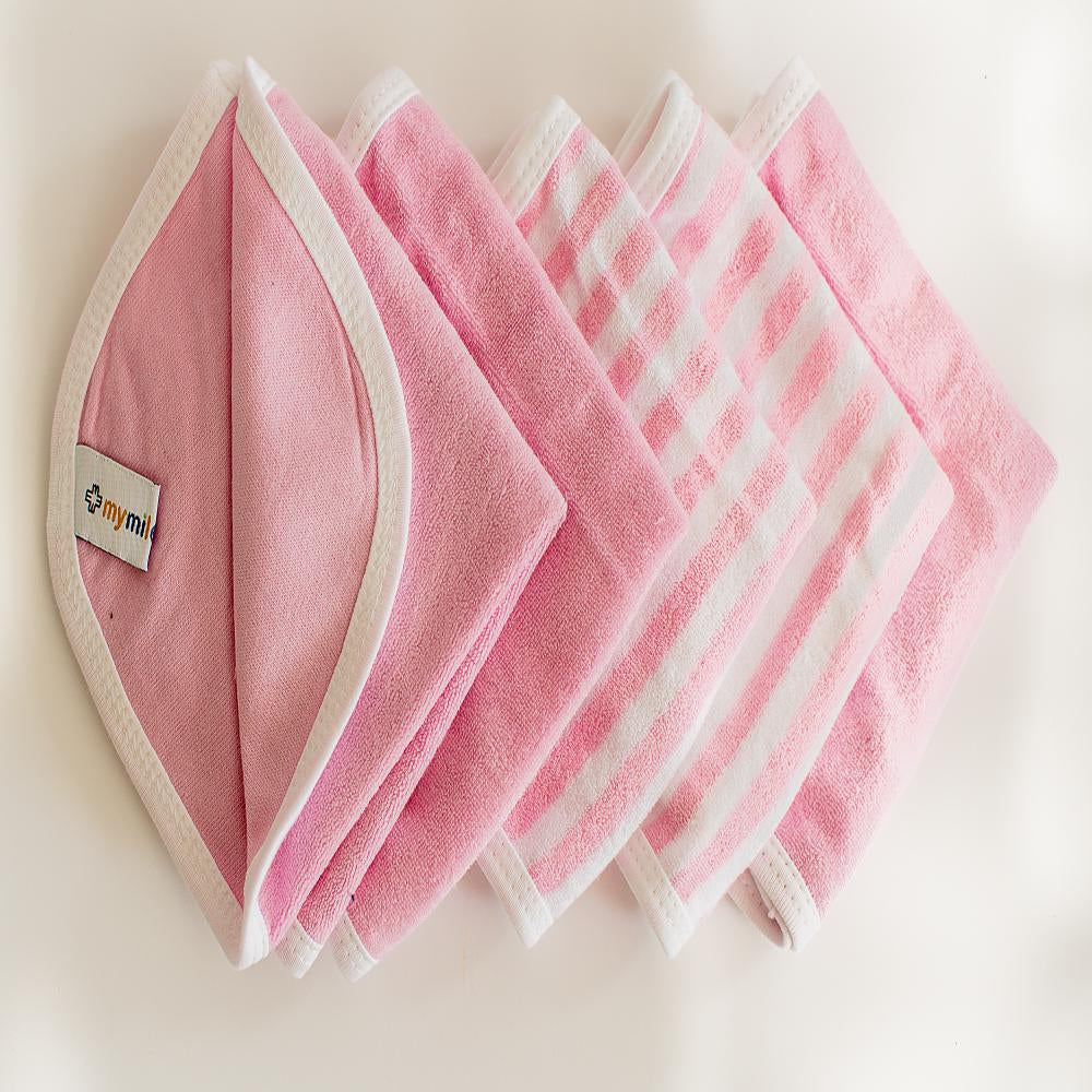 Wash Cloths/Napkins - Pink, Set of 5
