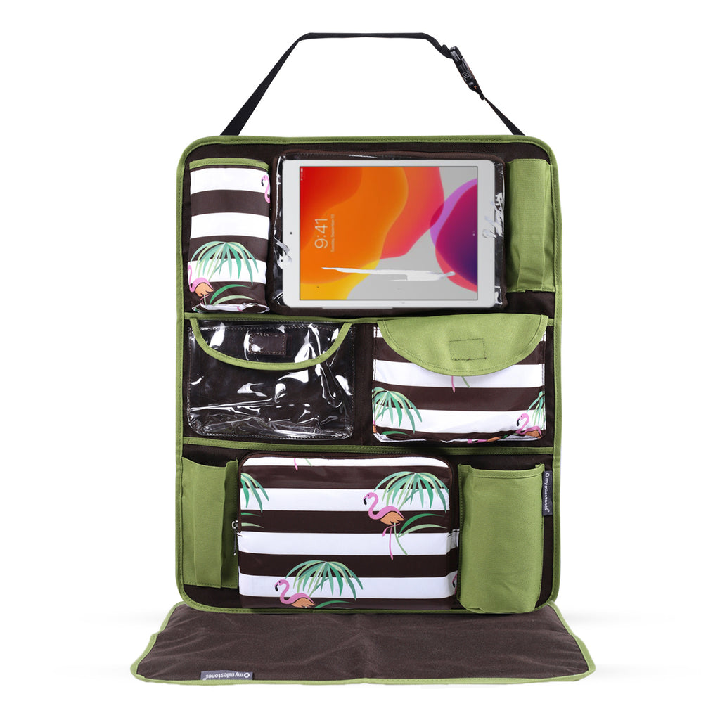 Car Seat/Travel Organizer - Flamingo Green