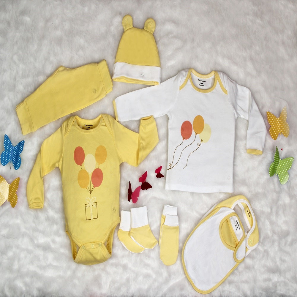 Infant Essentials Gift Set, Full Sleeves - Yellow, Set of 8