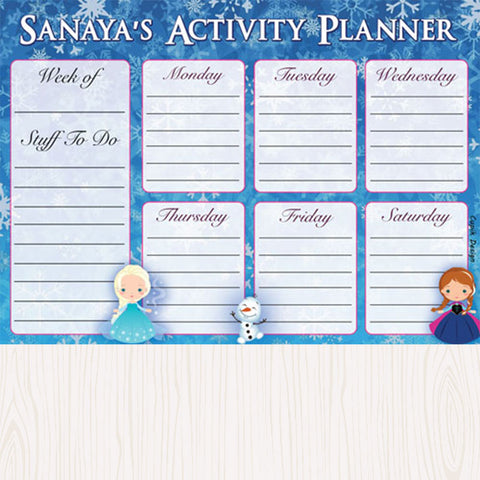 Personalised Activity Planner - Snowflake, Set of 50