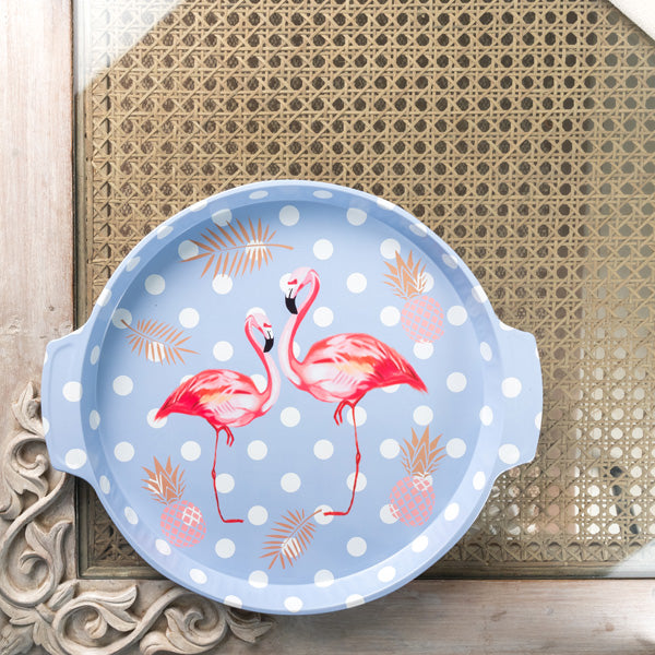 Blue Polka Dots Flamingo Metal Tin Tray