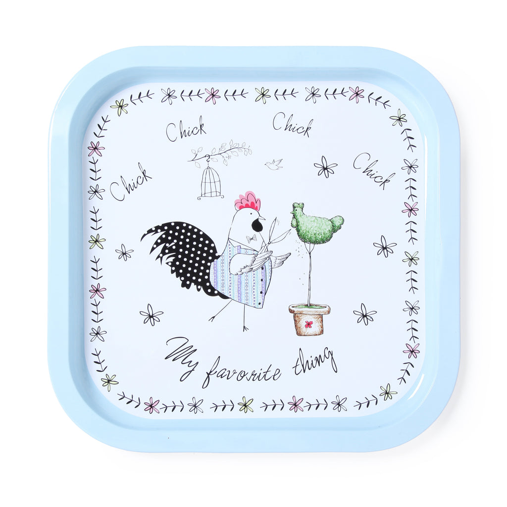 White Rooster Metal Tin Tray