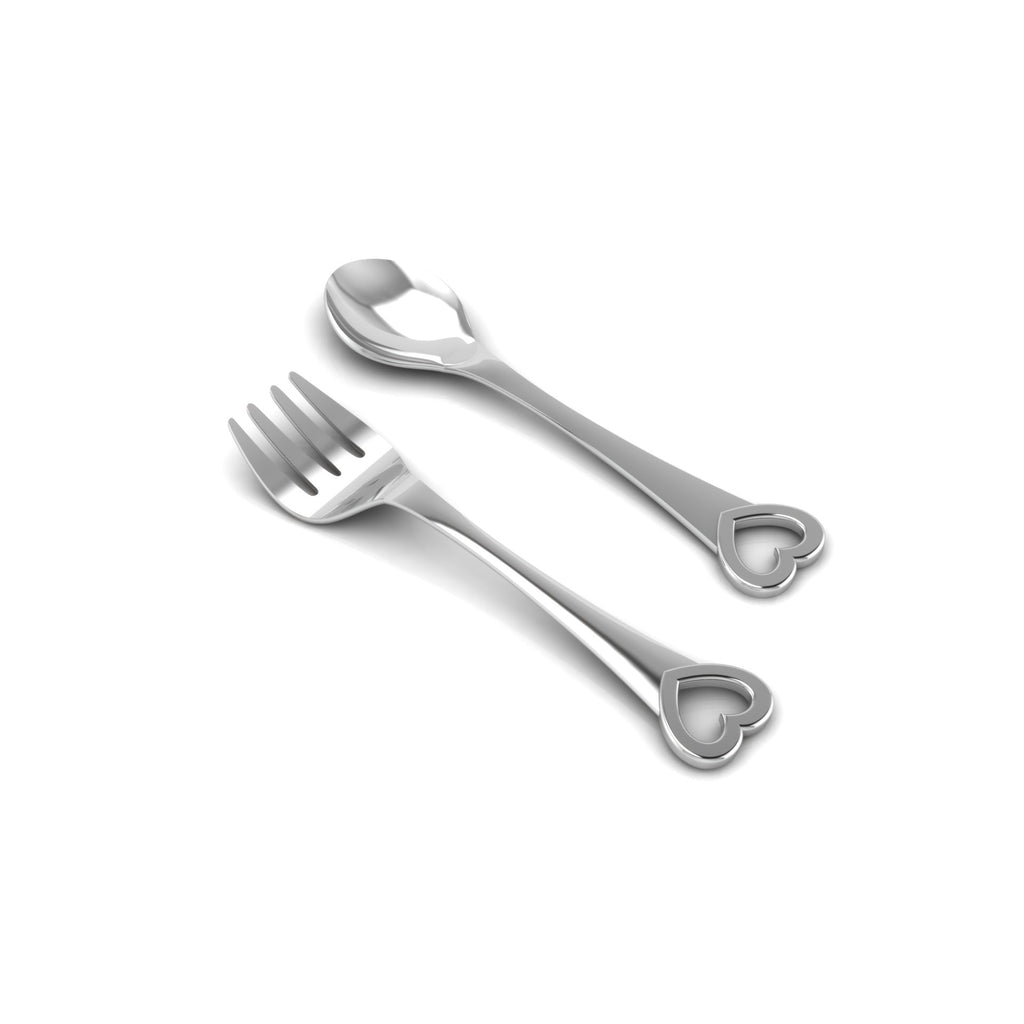 Sterling Silver Feeding Spoon & Fork Set - Heart