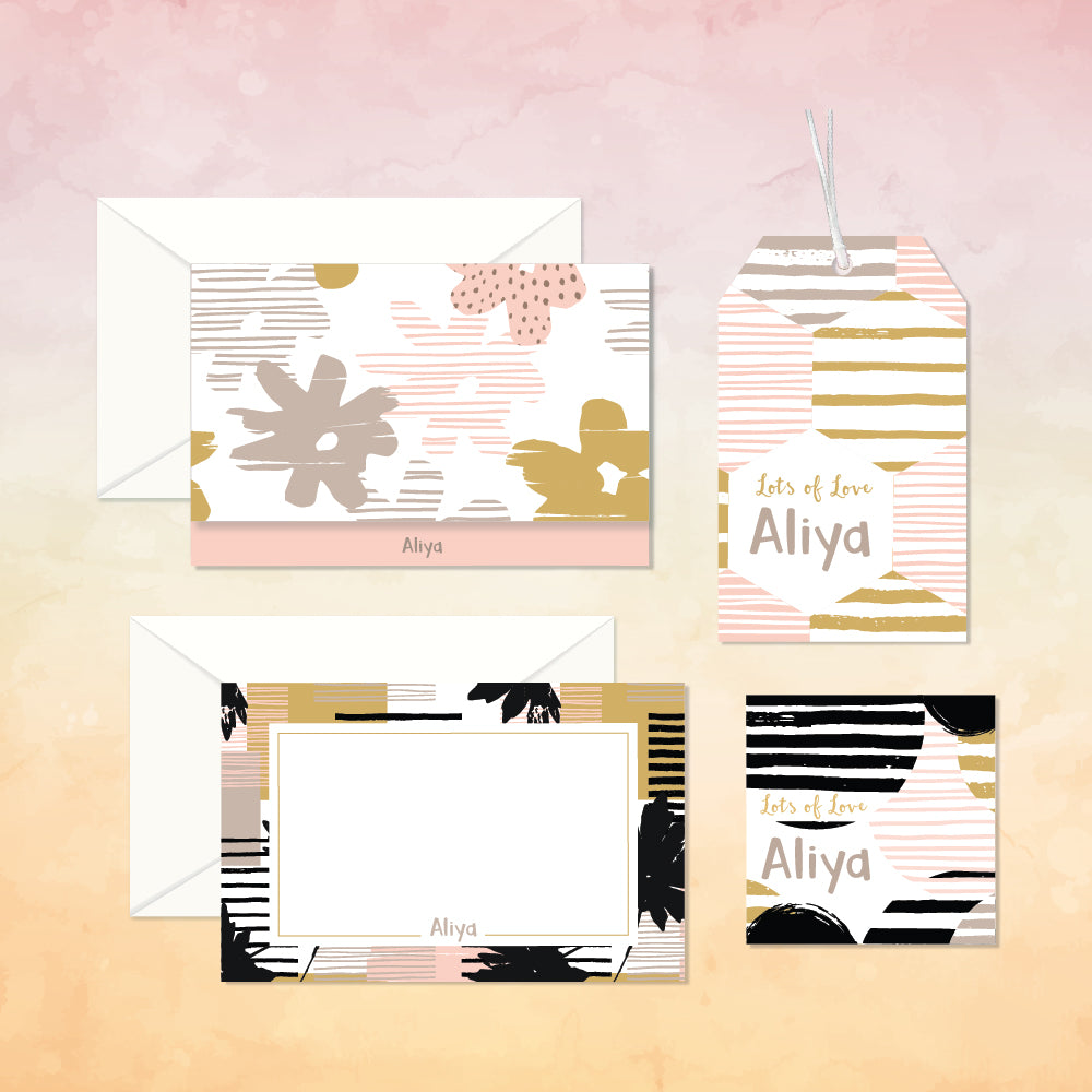 Personalized Stationery Gift Set - Abstract, Set of 24 or 48