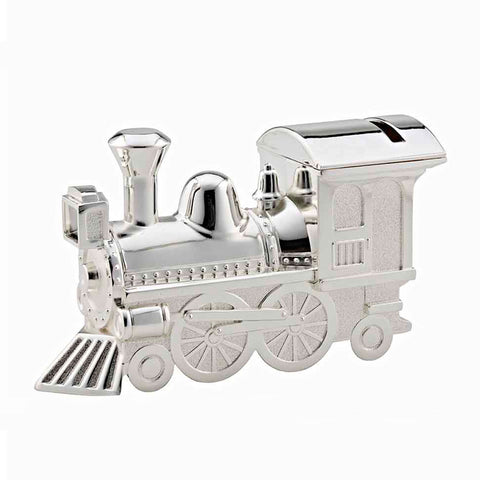 Frazer & Haws 92.5 Silver Plated Train Shape Money Box - With First Tooth & Curl Holder