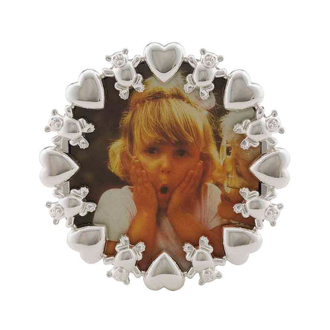 Frazer & Haws 92.5 Silver Plated Round Photo Frame - With Bear & Heart Rim
