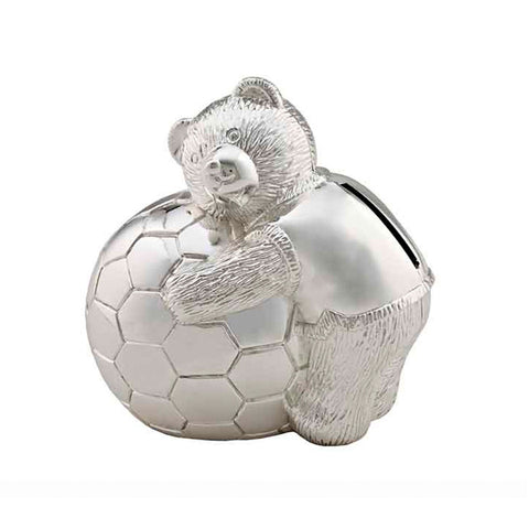 Frazer & Haws 92.5 Silver Plated Money box - Bear with Football