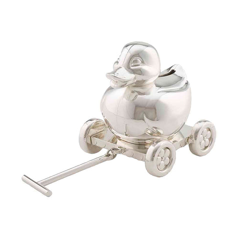 Frazer & Haws 92.5 Silver Plated Money box - Duck W/ Cart