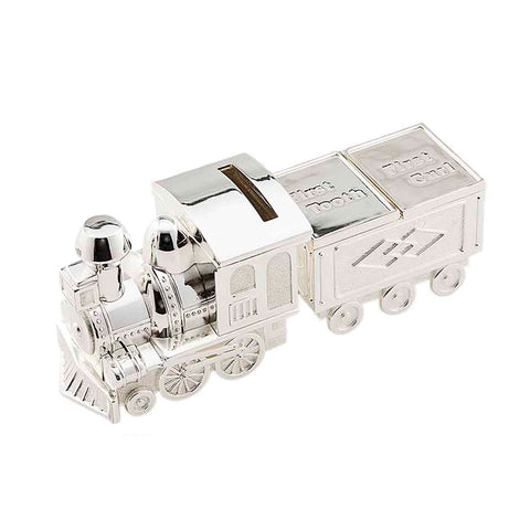 Frazer & Haws 92.5 Silver Plated Money box - Train W/First Tooth & Curl Holder